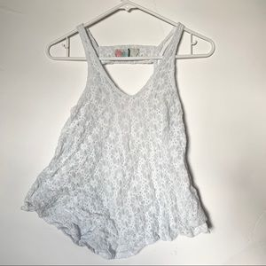 Free People Beach White Lace Tank Top